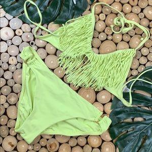 L Space Pistachio Fringe Bikini Set EUC SEXY!